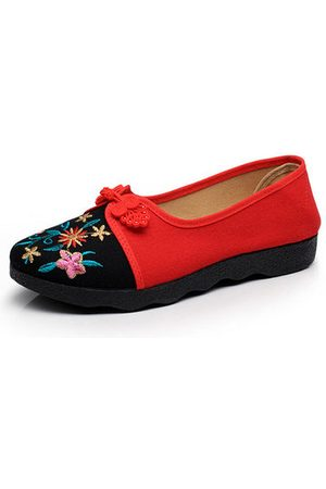 Newchic Old Beijing Chinese Style Embroidered Flat Loafers For Women