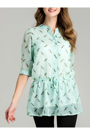 Newchic Women Shirts - Casual Bird Printed Chiffon Shirt