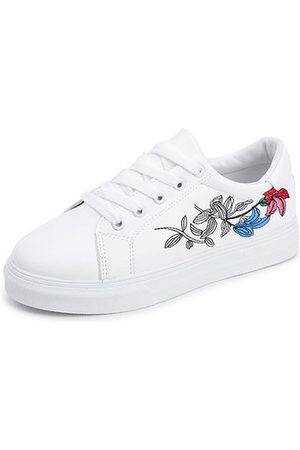 Newchic Flower Lace Up Sneaker Round Toe Casual Shoes For Women