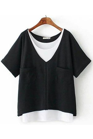 Newchic Casual Solid Vest V-Neck T-Shirt Two Pieces Suits