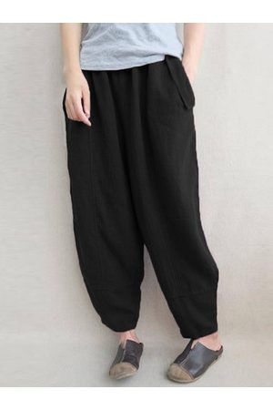 Newchic Casual Solid Elastic Waist Pockets Pants