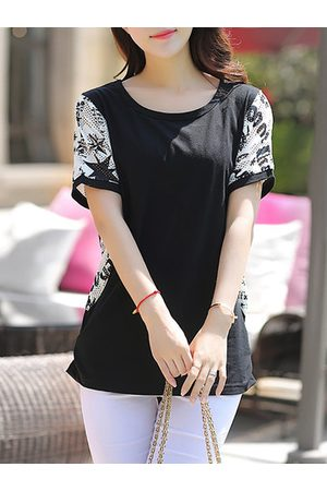 Newchic Casual Stitching Printed Short Sleeve Bouse