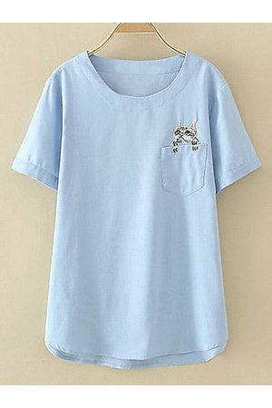 Newchic Casual Embroidery Cat Pocket Short Sleeve Shirt