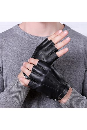 Newchic Men Sheepskin Thin Breathable Half-finger Gloves