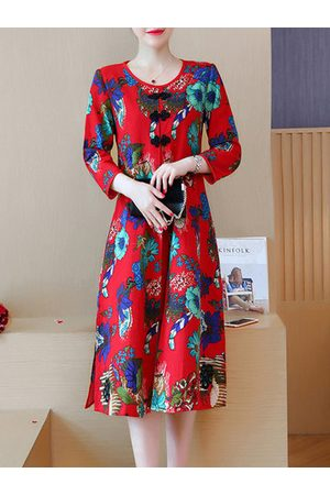 Newchic Vintage Floral Print O-neck Two Layers Dresses
