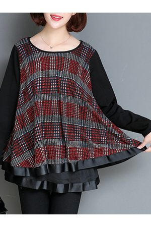 Newchic Loose Plaid Patchwork Long Sleeve Blouse