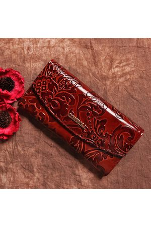Newchic Brenice Embossed Long Purse Chinese Genuine Leather Wallets