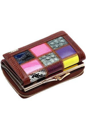 Newchic QIANXILU Genuine Leather Patchwork Short Wallets