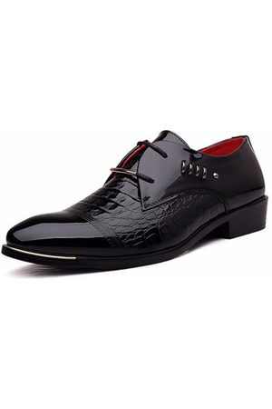Newchic Men Metal Plaid Crocodile Pointed Toe Lace Up Formal Business Shoes