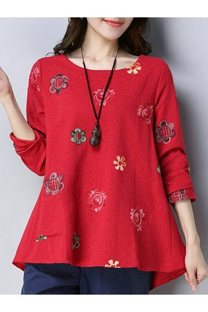 Newchic Vintage Flower Embroidery Long Sleeve Blouse