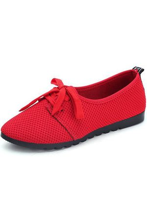 Newchic Women Casual Shoes - Mesh Breathable Lace Up Pure Colour Casual Shoes For Women