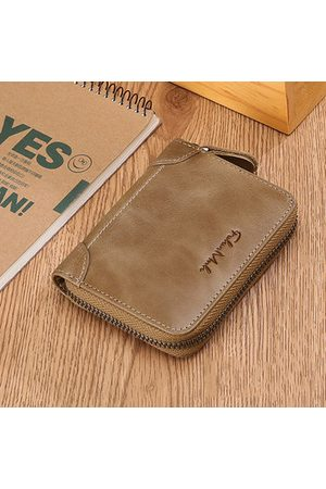 Newchic FALANMULE Genuine Leather Zipper Short Wallets
