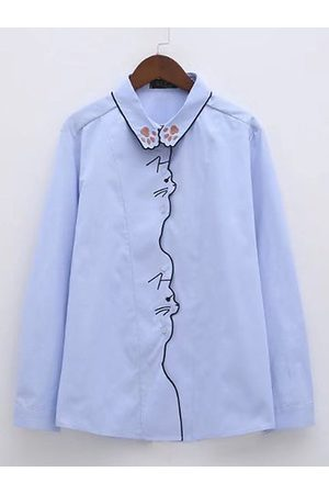 Newchic Women Long sleeves - Casual Embroidery Cat Turn-down Collar Long Sleeve Shirt