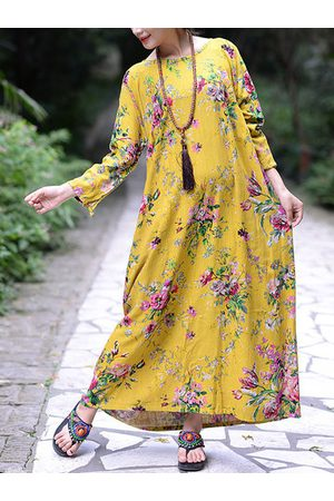 Newchic Floral O-Neck Long Sleeve Maxi Dress