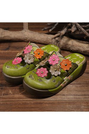 Newchic SOCOFY Colorful Flower Butterfly Leather Hollow Out Platform Shoes