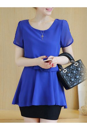 Newchic Casual Pure Color Short Sleeve Chiffon Blouse