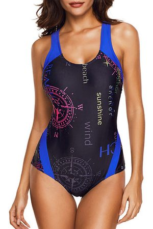 Newchic Printed Letters Figure Flattering High Elastic One Piece
