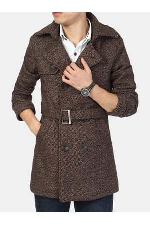 Newchic Men Trench Coats - Mid-long Casual Wool Trench Coat