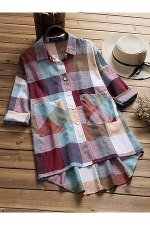 Newchic Casual Plaid Pocket Long Sleeve Lapel Shirt
