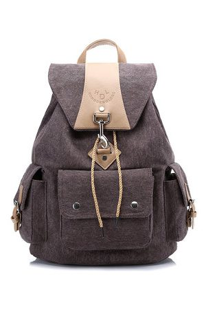 Newchic Women Men Canvas Casual Large Capacity Backpack