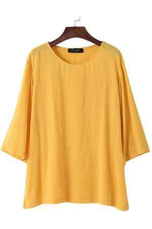 Newchic Casual Pure Color Long Sleeve O-Neck Shirt