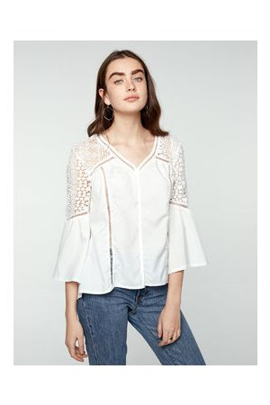 Newchic Casual Lace Patchwork Hollow Out V-Neck Shirt