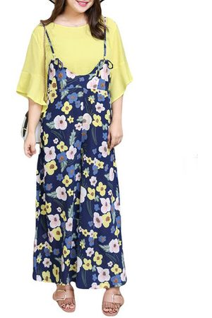 Newchic Casual Women Solid Blouse Floral Printed Jumpsuit Suits