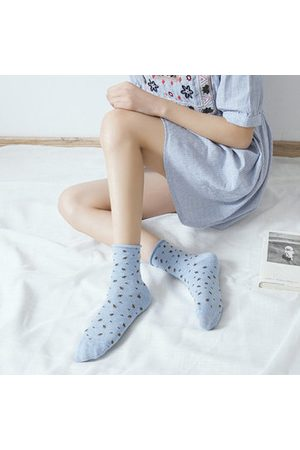 Newchic Spring Floral Curly Middle Tube Socks Cotton Breathable
