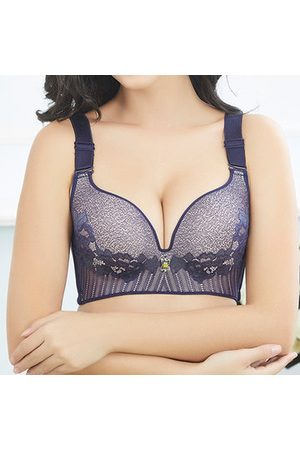 Newchic Plus Size Sexy Full Coverage Unlined Wireless Massage Lace Bras