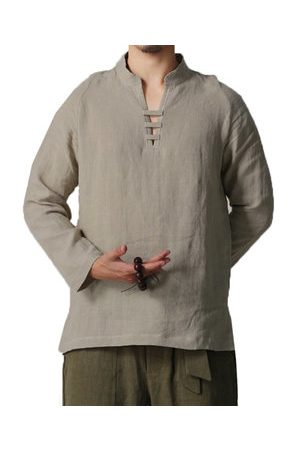 Newchic Plus Size Chinese Style Linen V-Neck T Shirt