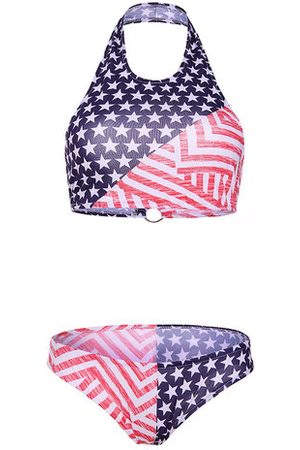 Newchic American Flag Printed Two-piece Halter Full Cup Backless Swimwear