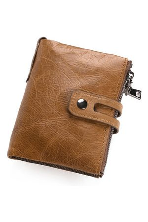 Newchic Vintage Genuine Leather Double Zipper Large Capacity Wallet