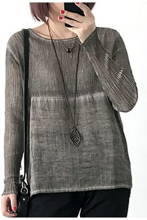 Newchic Women Long Sleeve - Casual Loose Solid Color Long Sleeve O-neck Women Shirts