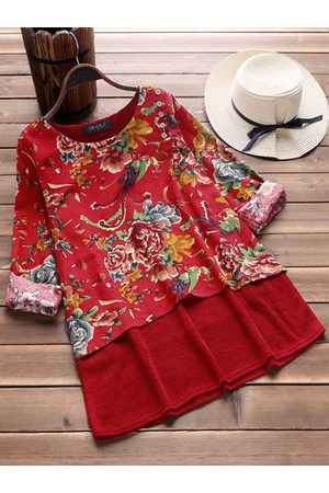 Newchic Floral Printed Two Layers Vintage T-shirts