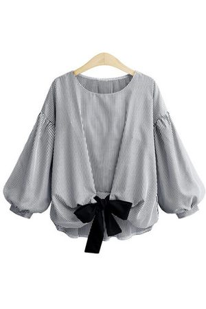 Newchic Casual Striped Bow-knot Shirts