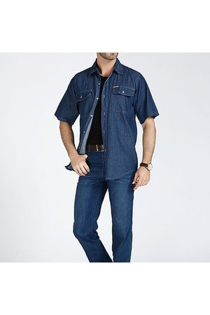 Newchic Men Blue Denim Shirt