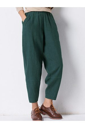 Newchic Pure Color Elastic Waist Pants