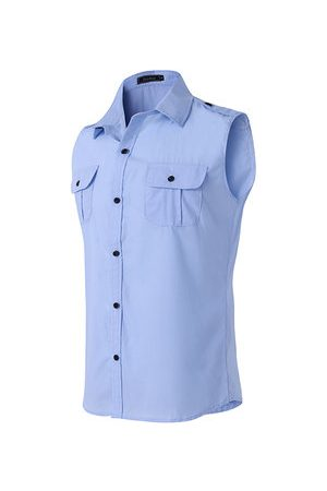 Newchic Men Casual - Casual Summer Fashion Epaulets Chest Pockets Sleeveless Band Collar Dress Shirts for Men