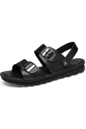 Newchic Men Large Size Cow Leather Adjustable Hook Loop Sandals