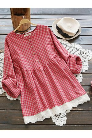 Newchic Women Blouses - Vintage Plaid Lace Crochet Shirts