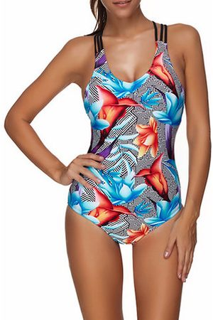 Newchic Sexy Printed Slimming Cross Back String One Piece