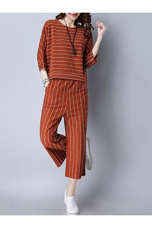 Newchic Striped Blouse Elastic Waist Pants Two Pieces Suits