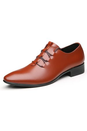 Newchic Men Formal Shoes - Men Microfiber Leather Pointed Toe Lace Up Business Shoes