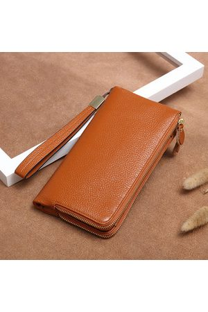 Newchic Genuine Leather Women Men Long Wallet