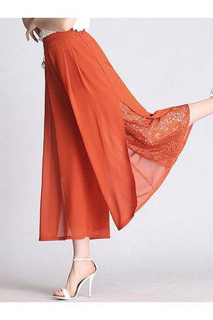 Newchic Fashion Lace Stitching Elastic Waist Chiffon Pants