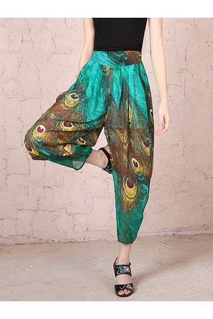 Newchic Women Capris - Vintage Tatting Peacock Inelastic Loose Pants