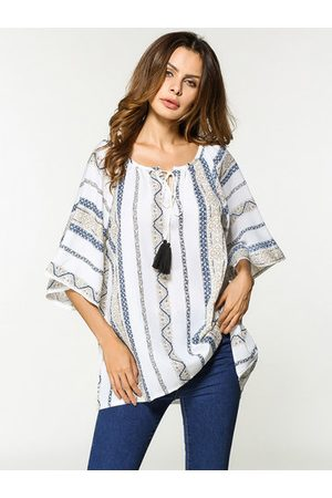 Newchic Printed Lacing Chiffon Shirts