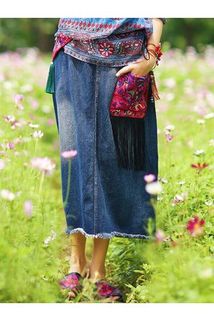 Newchic Women Skirts - Ethnic Style Embroidery A-line Cotton Skirts