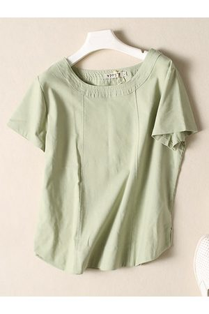 Newchic Women Short sleeves - Casual Solid O-neck Short Sleeve Shirt