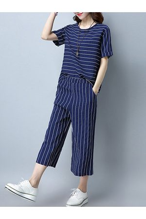Newchic Stripes Short Sleeve Casual Blouse Two-piece